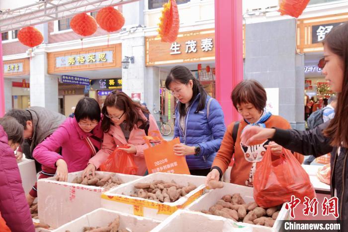 年货节现场,众多广州市民前来购买清远市山货。 李锦泳 摄